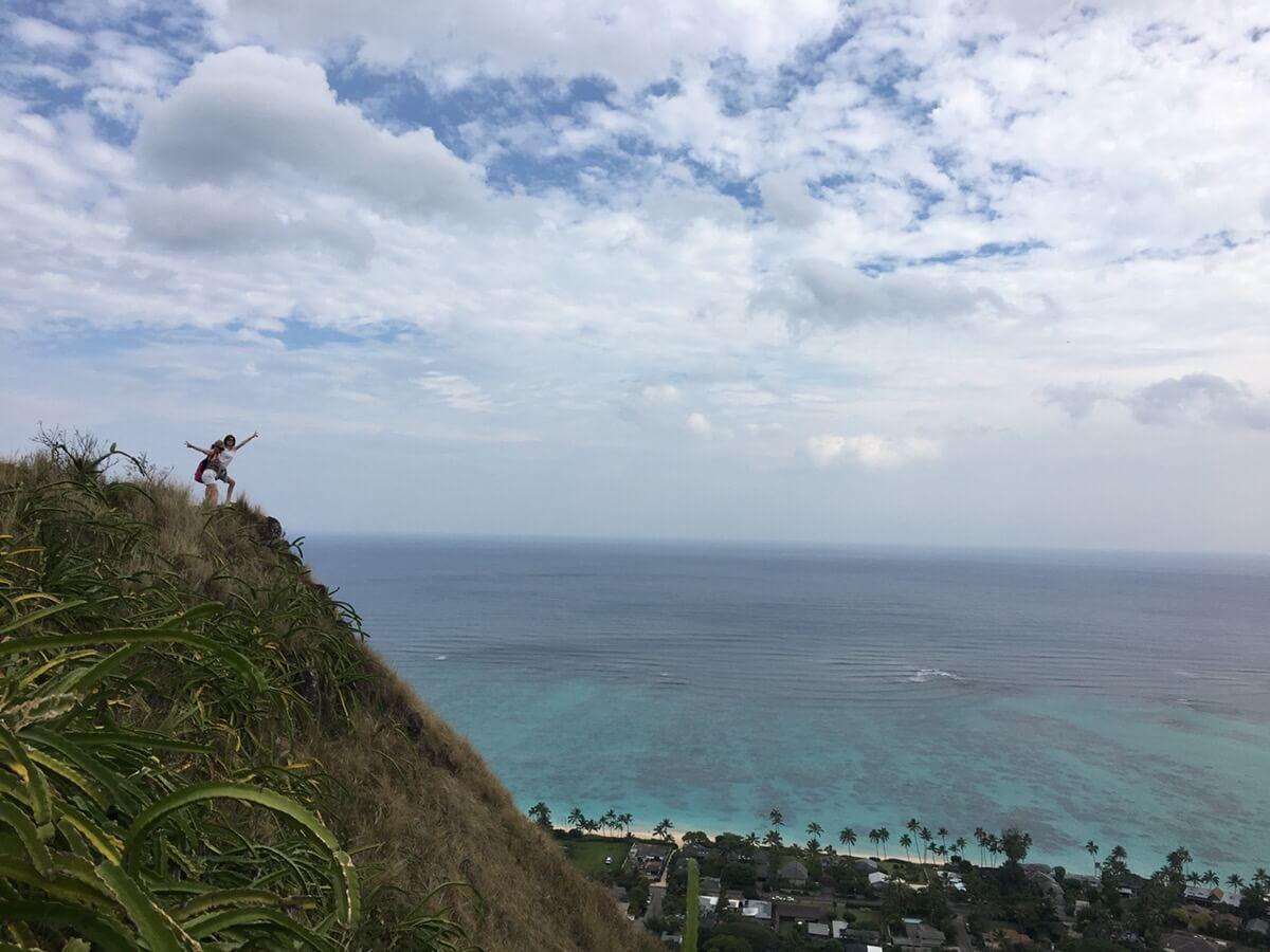 登山後に見られるカイルアビーチの景色